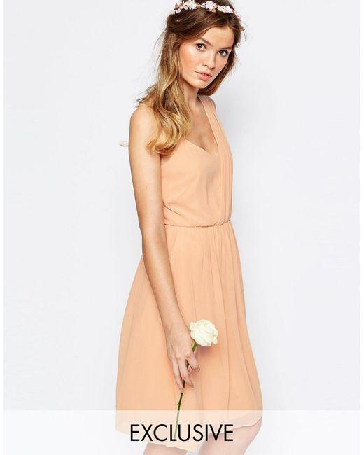 Vila | Pink One Shoulder Sash Dress | Lyst