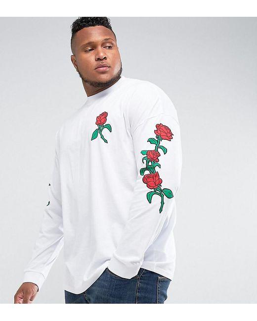 Asos Plus Oversized Long Sleeve T-shirt With Rose Sleeve