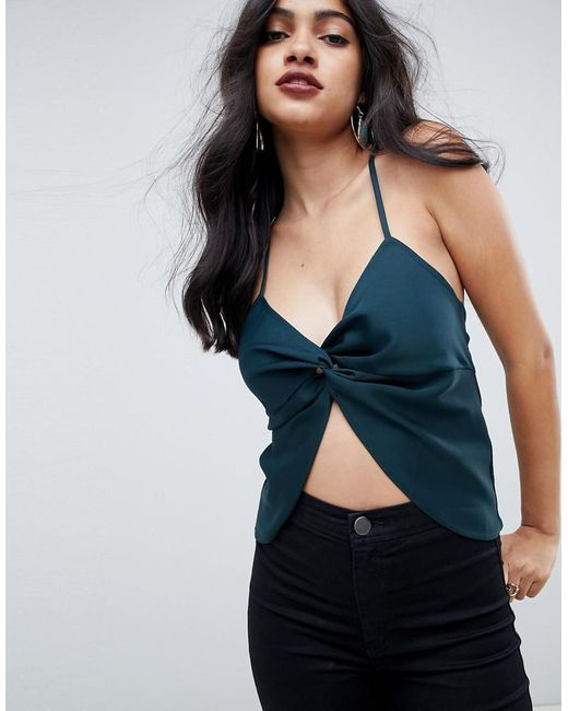 ASOS - Green Satin Cami With Twist Front Detail - Lyst