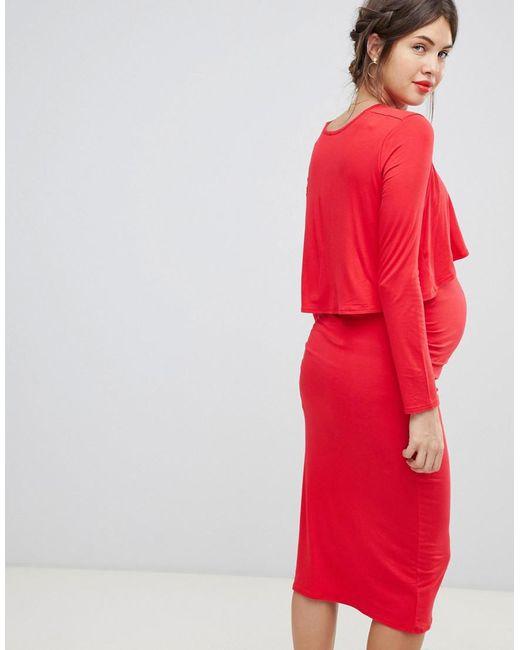 9cbcf7b27ec1a Lyst - Bluebelle Maternity Midi 2 In 1 Dress In Red in Red