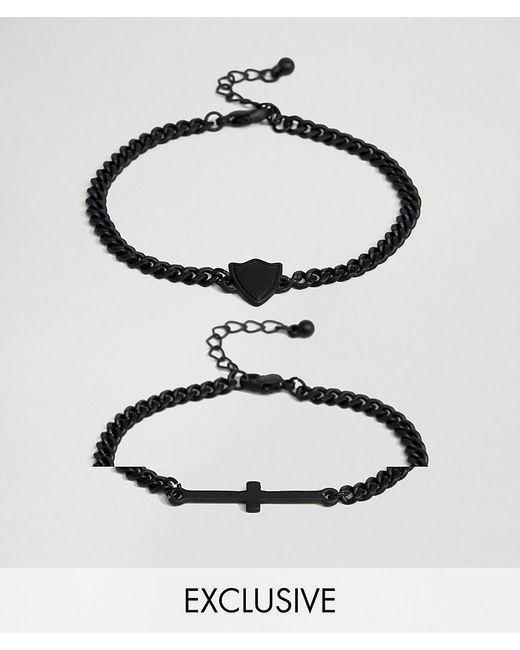 Reclaimed (vintage) - Metallic Inspired Cross Bracelet In 2 Pack Exclusive To Asos for Men - Lyst