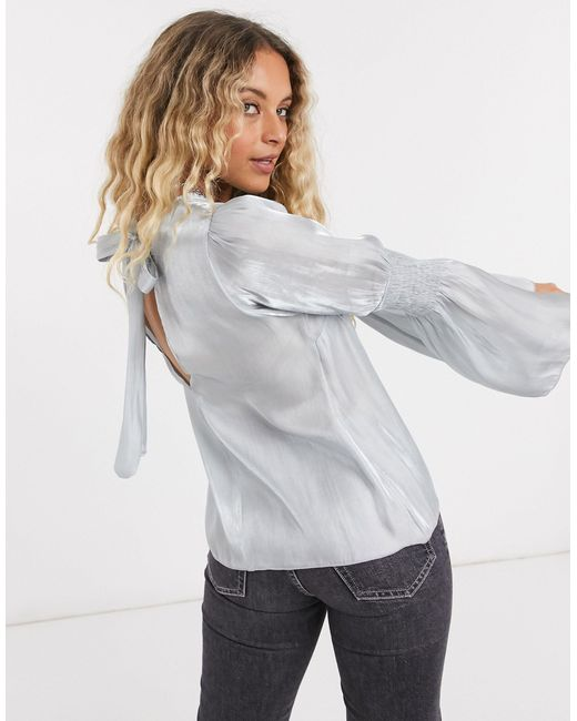 TOPSHOP Blue Satin Ruched Sleeve Blouse