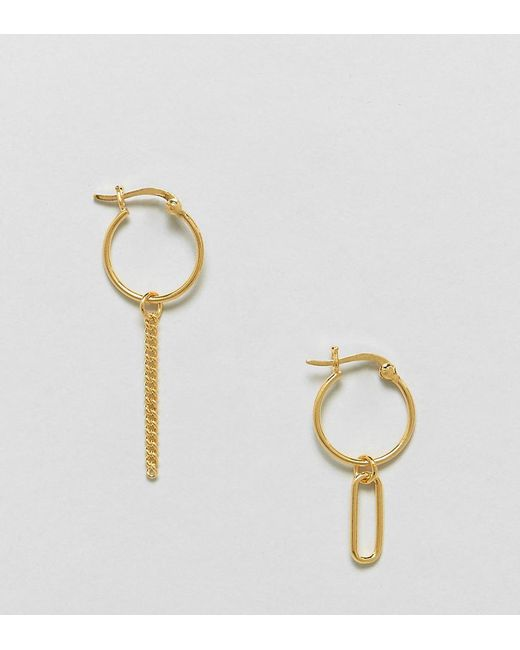 ASOS   Metallic Gold Plated Sterling Silver Mismatch Oval And Chain Drop Hoop Earrings   Lyst