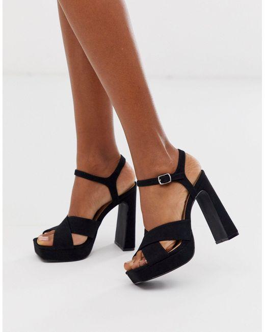 black platform strap sandals