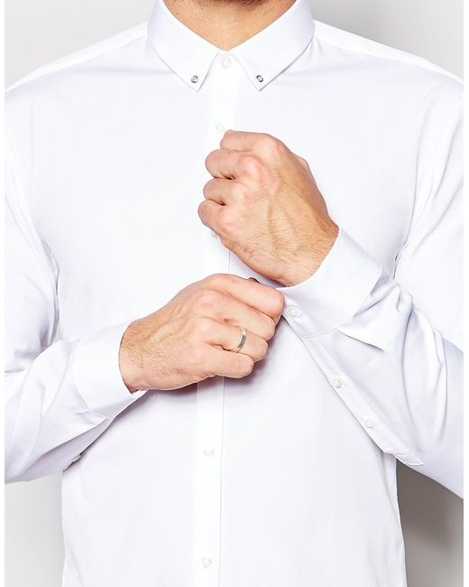 Boss hugo by smart shirt in slim stretch cotton and eyelet for Mens eyelet collar dress shirts