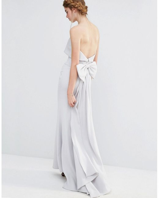 Jarlo Wedding Overlay Maxi Dress With Fishtail And Oversized Bow Back In White Silvergrey