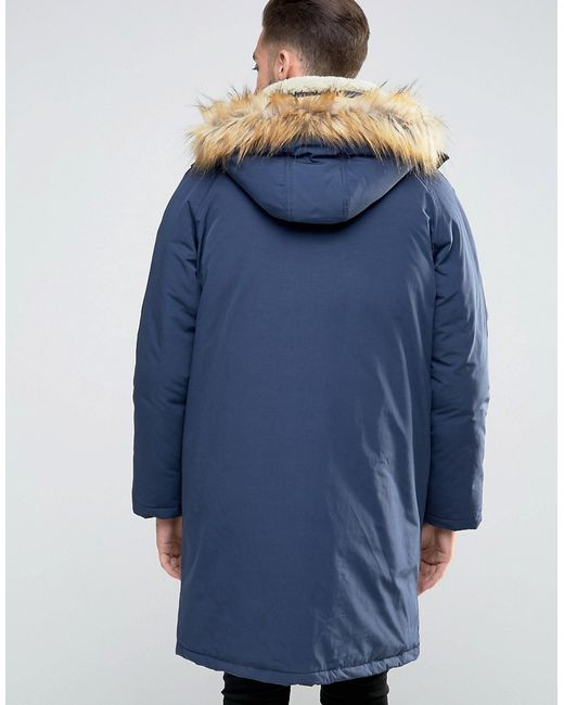 Asos Parka Jacket With Borg Collar In Navy in Blue for Men   Lyst