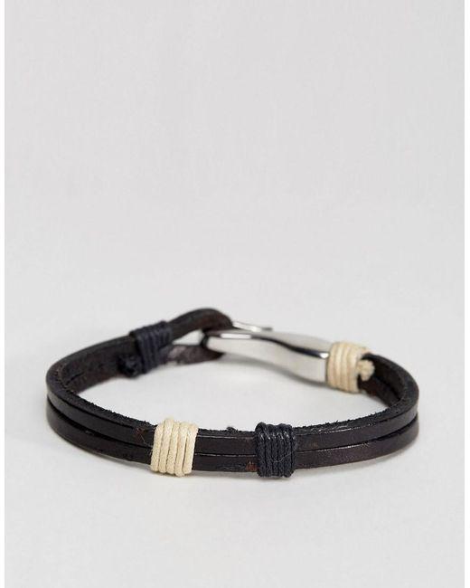 Seven London | Brown Leather Hook Bracelet In Black for Men | Lyst