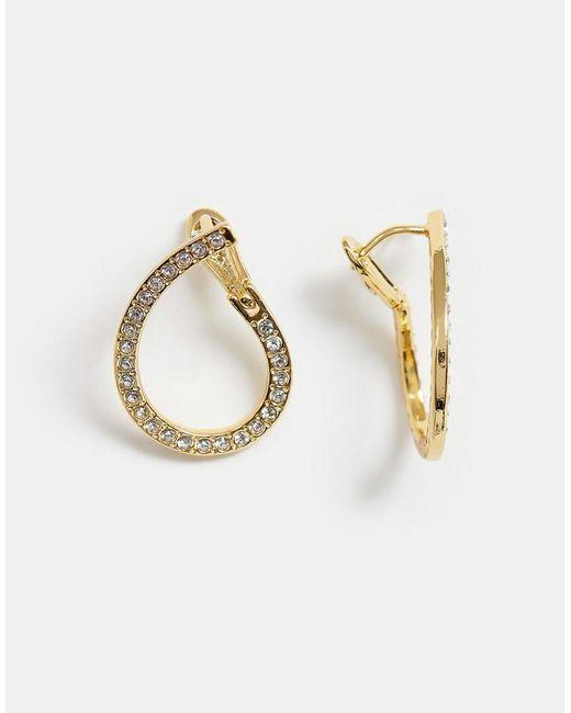 ASOS Metallic Premium Gold Plated Earrings In Loop Design With Swarovski Crystals