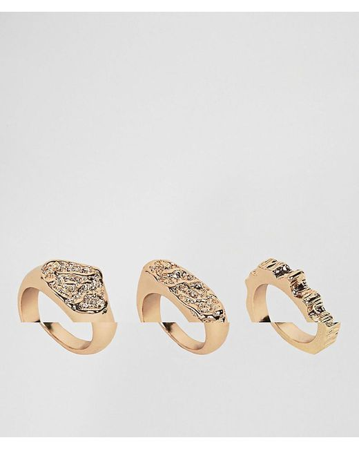 ASOS - Metallic Pack Of 3 Rough Hammered Rings - Lyst