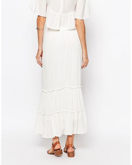 vero moda tiered maxi skirt in white snowwhite lyst
