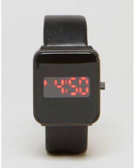 asos square sleek digital in black for lyst