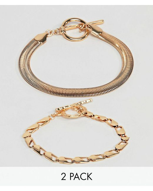 ASOS - Metallic Pack Of 2 Bracelets With Heavyweight Chain And Flat Rope Chain Gold - Lyst