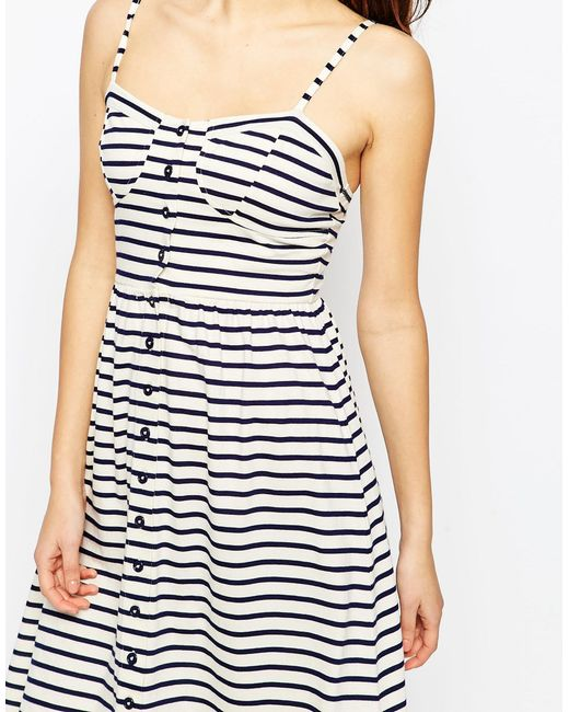 Asos Midi Sundress In Stripe With Button Front In Black