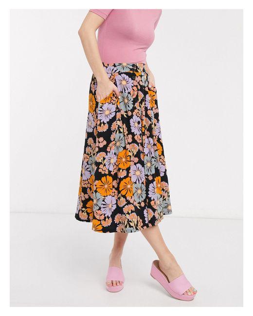 Разноцветная Юбка Миди С Цветочным Принтом -черный Monki, цвет: Black