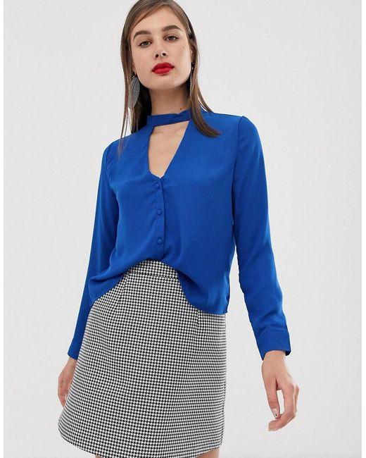 9fa706a5e4 UNIQUE21 - Blue Striped Shirt With Tie Collar - Lyst ...