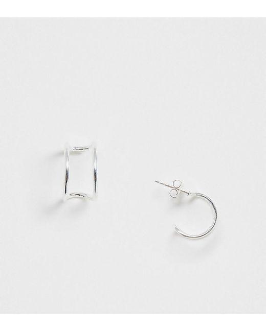 ASOS Metallic Sterling Silver Hoop Earrings With Double Loop