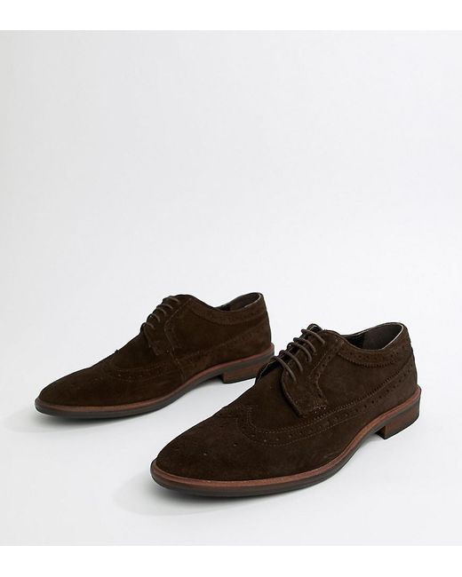 8c1721e8463a ASOS - Brogue Shoes In Brown Suede With Natural Sole for Men - Lyst ...