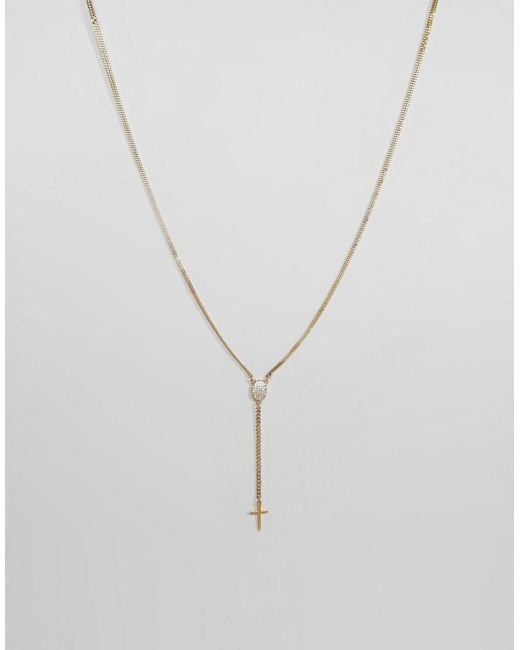 Mister | Metallic Rosary Plus Necklace In Gold | Lyst