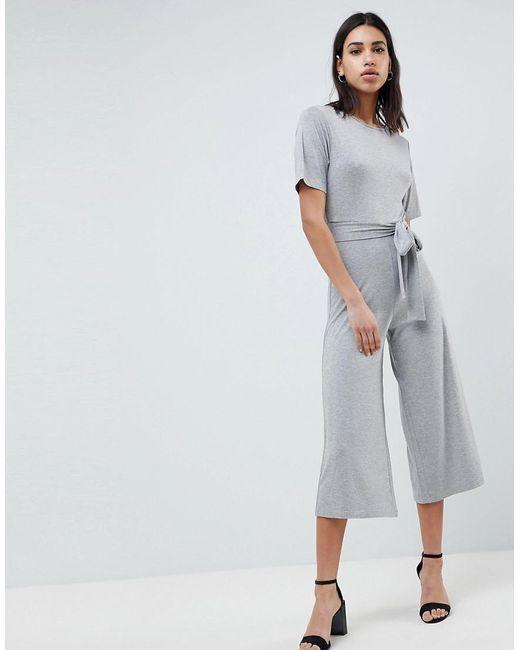 87f33782c9cfa0 Combinaison en jersey avec lien à la taille et forme jupe-culotte femme de  coloris gris