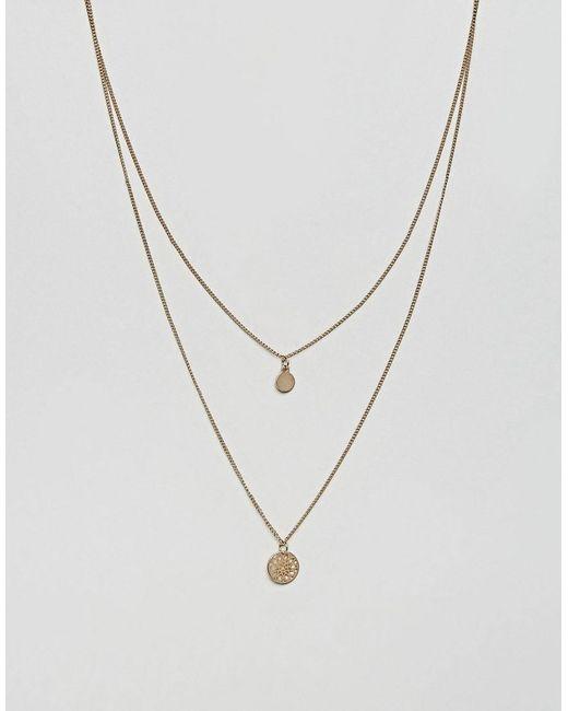 ASOS Metallic Chakra Multirow Necklace