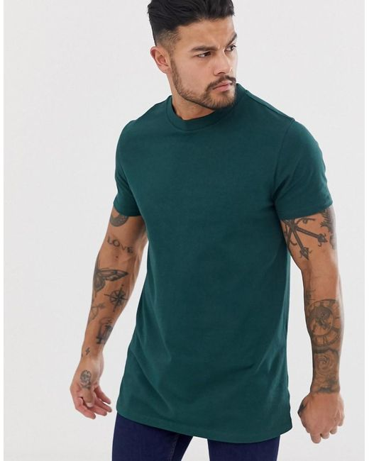 ASOS Longline T-shirt With Side Splits In Green for men