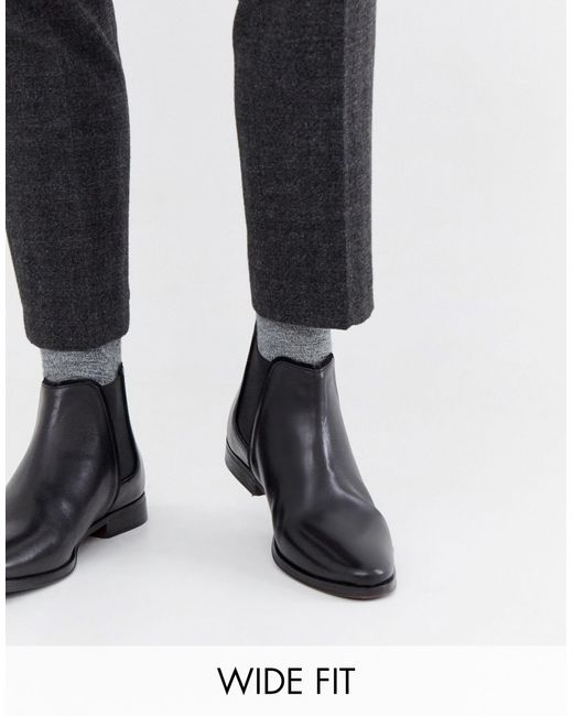 ASOS Leather Wide Fit Chelsea Boots in