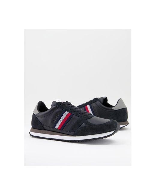 Черные Кожаные Кроссовки Для Бега С Полосками Сбоку -черный Цвет Tommy Hilfiger для него, цвет: Black