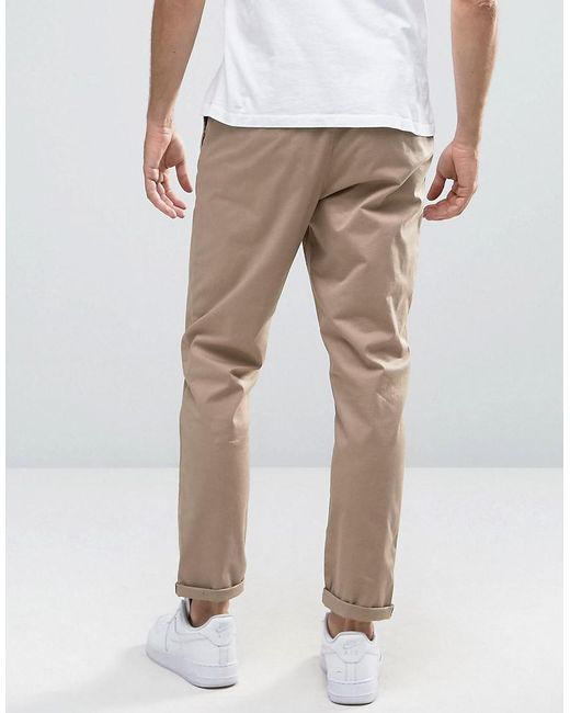 c0381ab42c5a46 ... ASOS - Natural Tapered Chinos In Stone for Men - Lyst