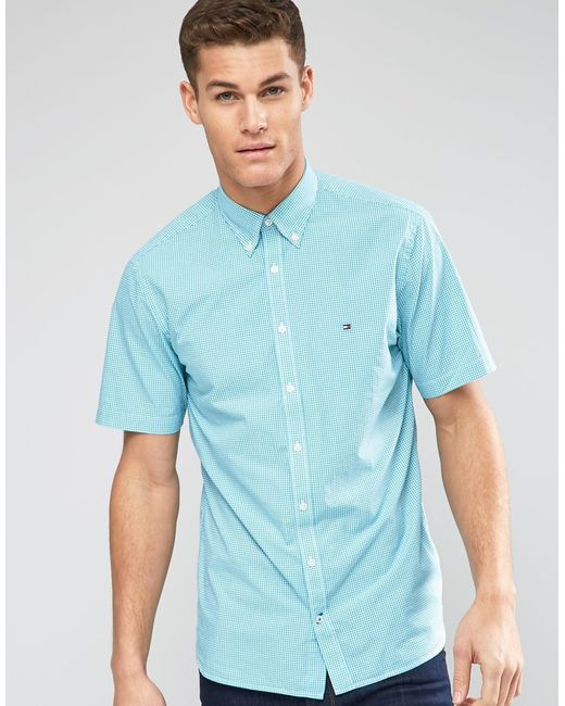 Tommy hilfiger short sleeve shirt in gingham green new for Tommy hilfiger gingham dress shirt