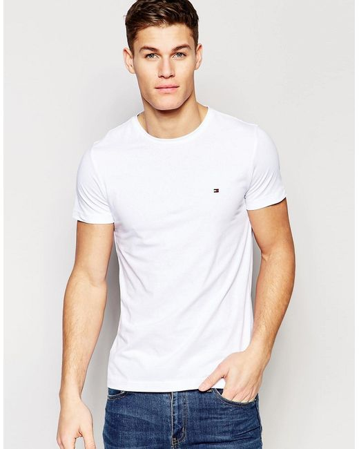 tommy hilfiger t shirt with flag logo in stretch slim fit in white in. Black Bedroom Furniture Sets. Home Design Ideas