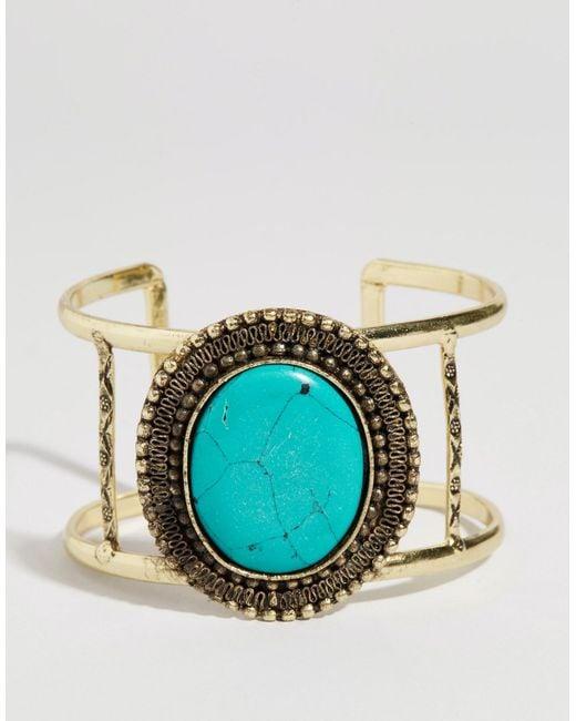 ASOS   Blue Stone Cuff Bracelet   Lyst