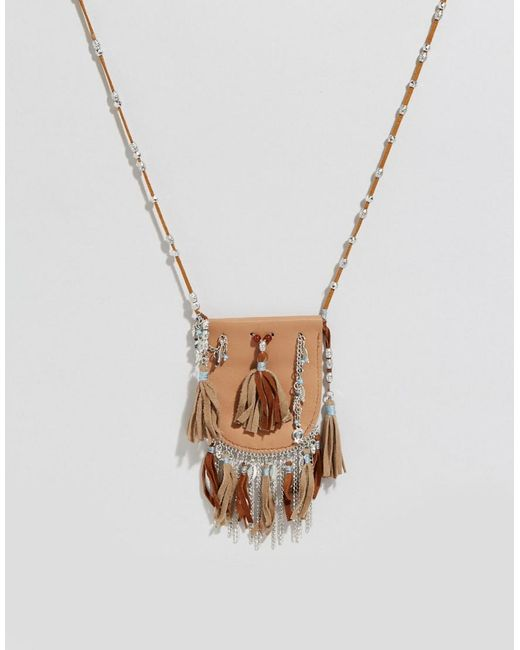 ASOS | Natural Festival Beaded Purse Necklace | Lyst