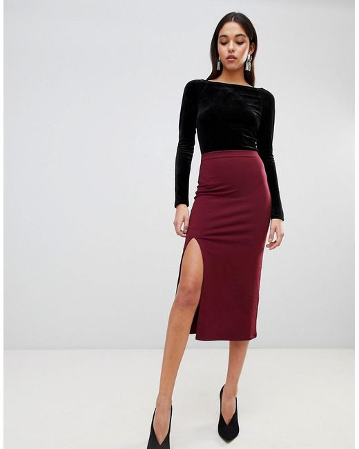 ASOS   Red Design Midaxi Skirt With Front Split   Lyst