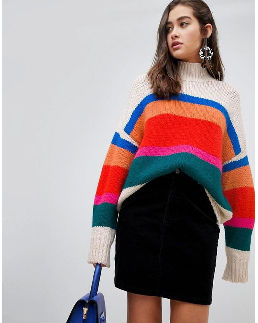 New Look - Red High Neck Jumper In Cream Stripe - Lyst