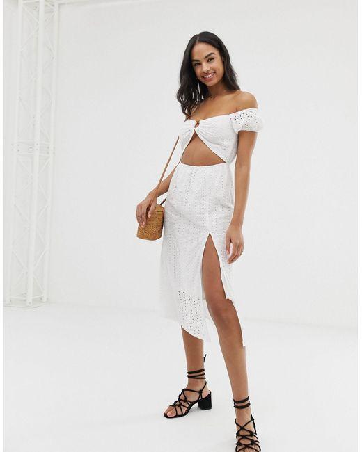 Vestido playero blanco con hombros descubiertos Paella Fashion Union de color White