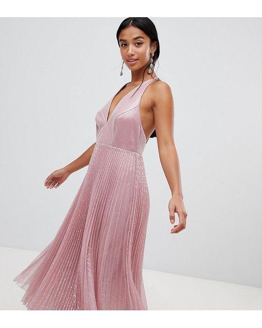 1068d2be8efc ASOS - Pink Asos Design Petite Midi Dress In Pleated Sequin - Lyst ...