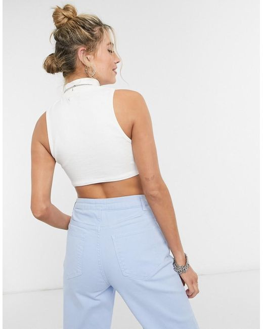 Bershka White Ribbed Sleeveless Crop Top