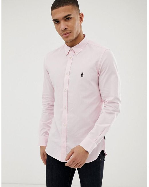 French Connection Pink Long Sleeve Oxford Shirt for men