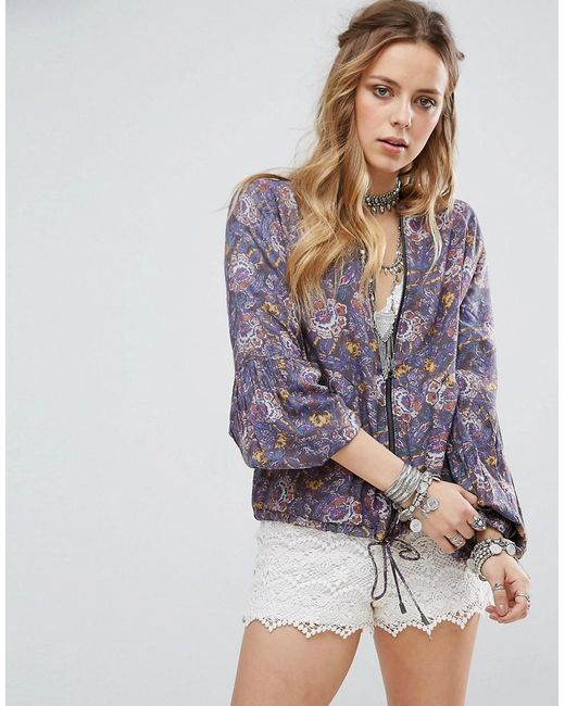 Free People | Black Printed Baloon Sleeve Soft Jacket | Lyst