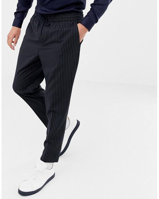 check out better price for real quality Smart joggers In Navy Pinstripe