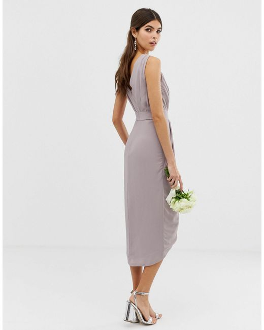 TFNC London Gray Bridesmaid Exclusive Wrap Midi Dress With Embellished Shoulder