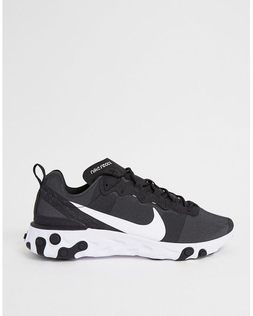 new collection in stock sports shoes React Element 55 Trainers In Black And White