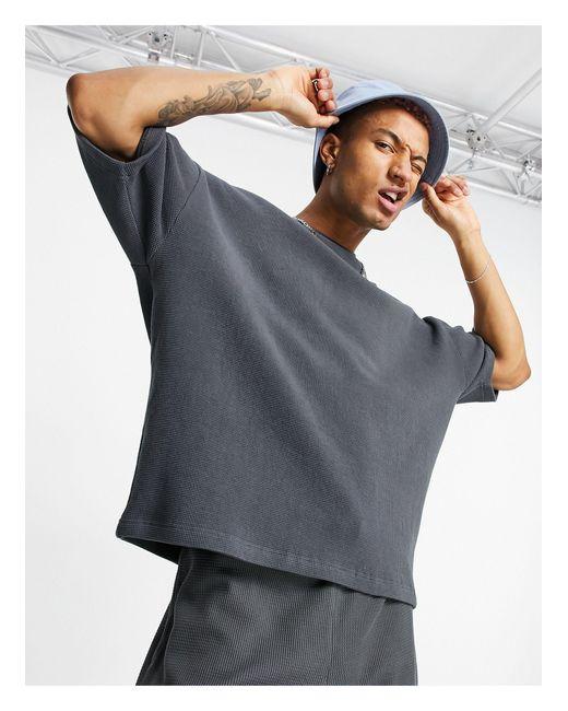 Черная Выбеленная Oversized-футболка Из Плотного Вафельного Трикотажа От Комплекта ASOS для него, цвет: Multicolor
