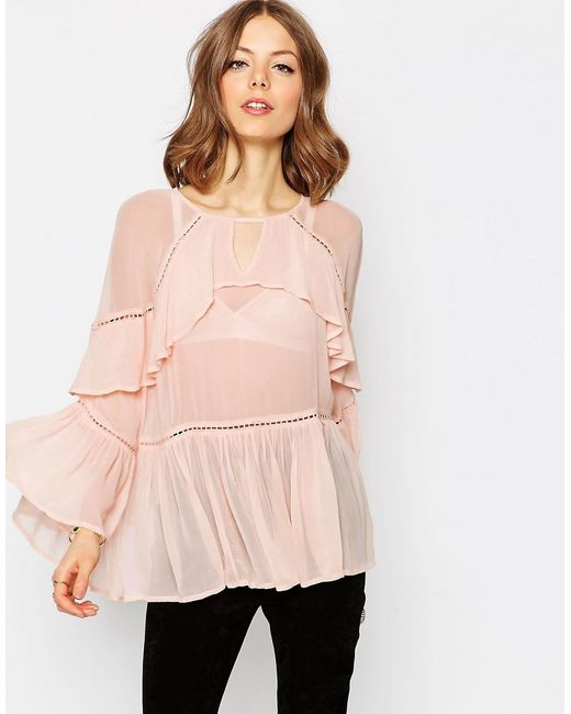 ASOS | Pink Tiered Ruffle Blouse | Lyst