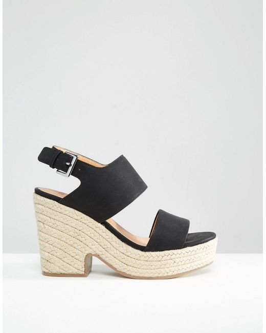 asos tell all espadrille wedge sandals in black lyst