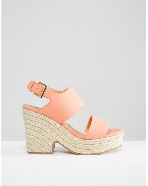 asos tell all espadrille wedge sandals in pink coral lyst. Black Bedroom Furniture Sets. Home Design Ideas
