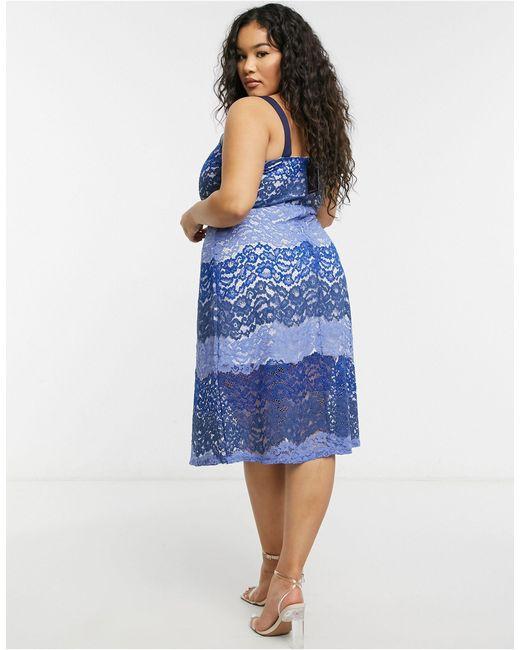 Синее Кружевное Платье-комбинация -голубой Simply Be, цвет: Blue