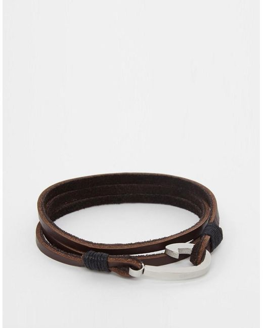 Seven London | Brown Even London Hook Leather Wrap Bracelet In Tan Exclusive To Asos for Men | Lyst