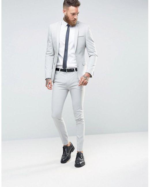 Asos Super Skinny Suit Jacket In Light Grey in Gray for Men - Save ...